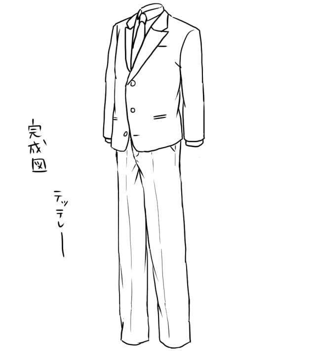 スーツのイラストの描き方シャツジャケット男性用女性用も解説
