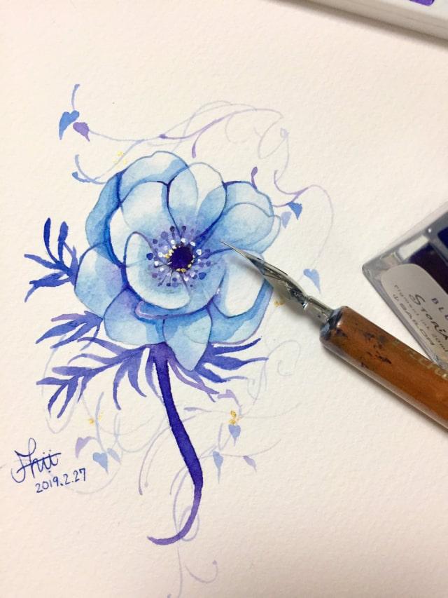 花の水彩画イラストメイキング1