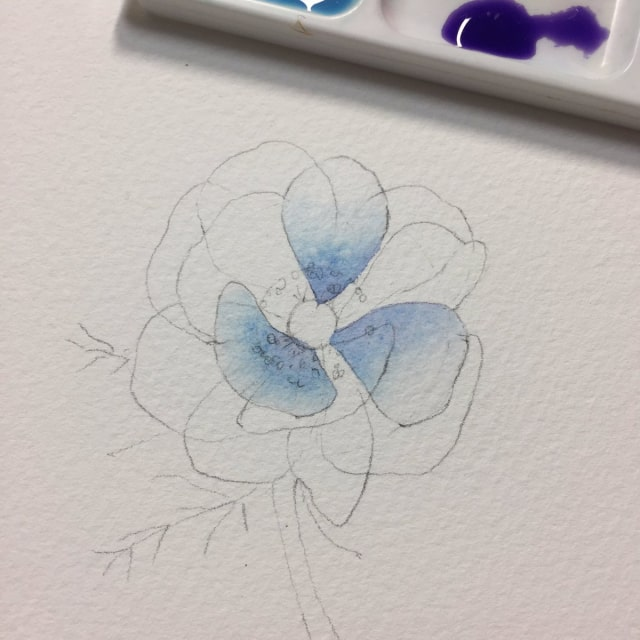 花の水彩画イラストメイキング9