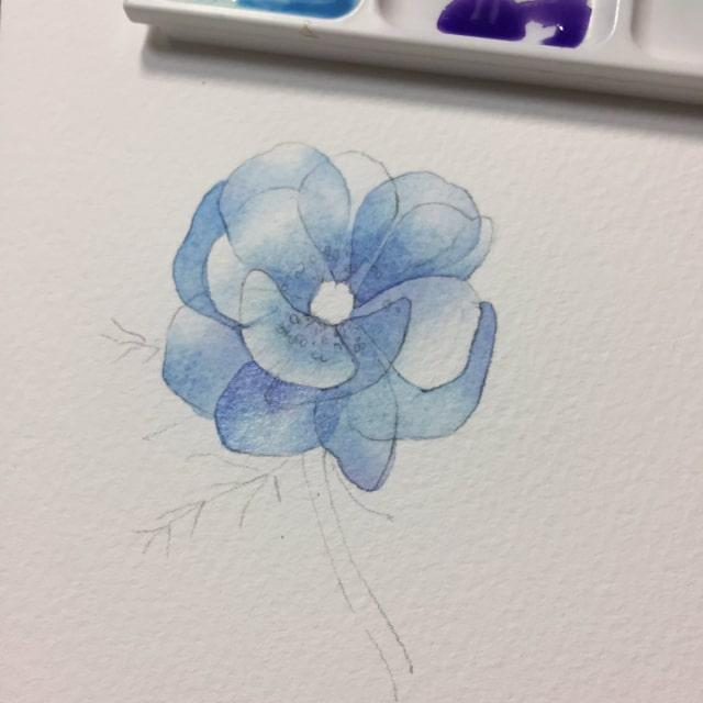 花の水彩画イラストメイキング10