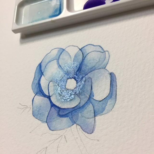 花の水彩画イラストメイキング14