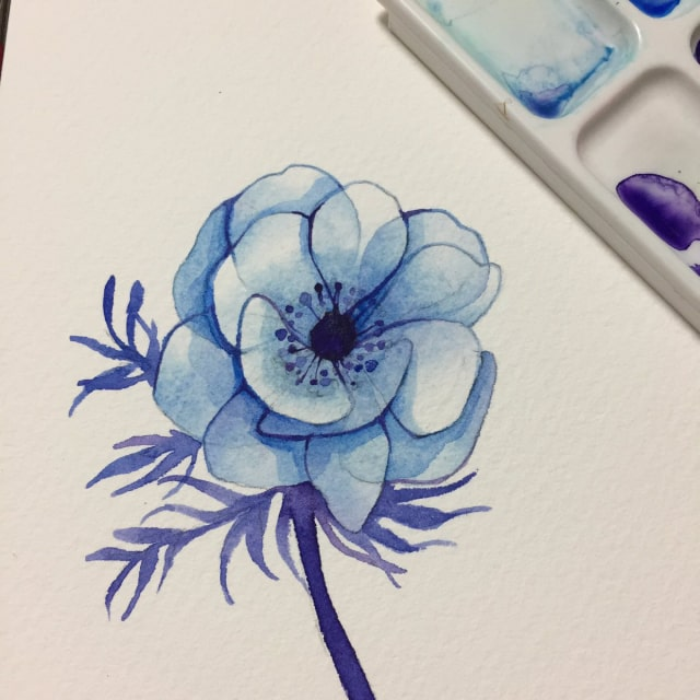 花の水彩画イラストメイキング15