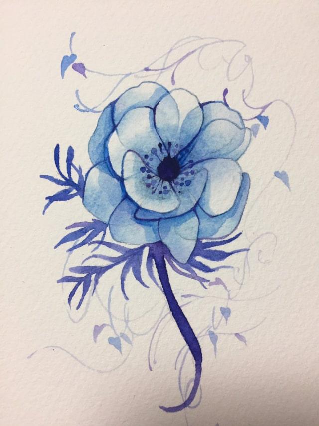 花の水彩画イラストメイキング16