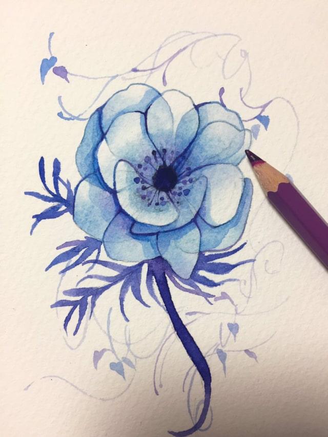 花の水彩画イラストメイキング17