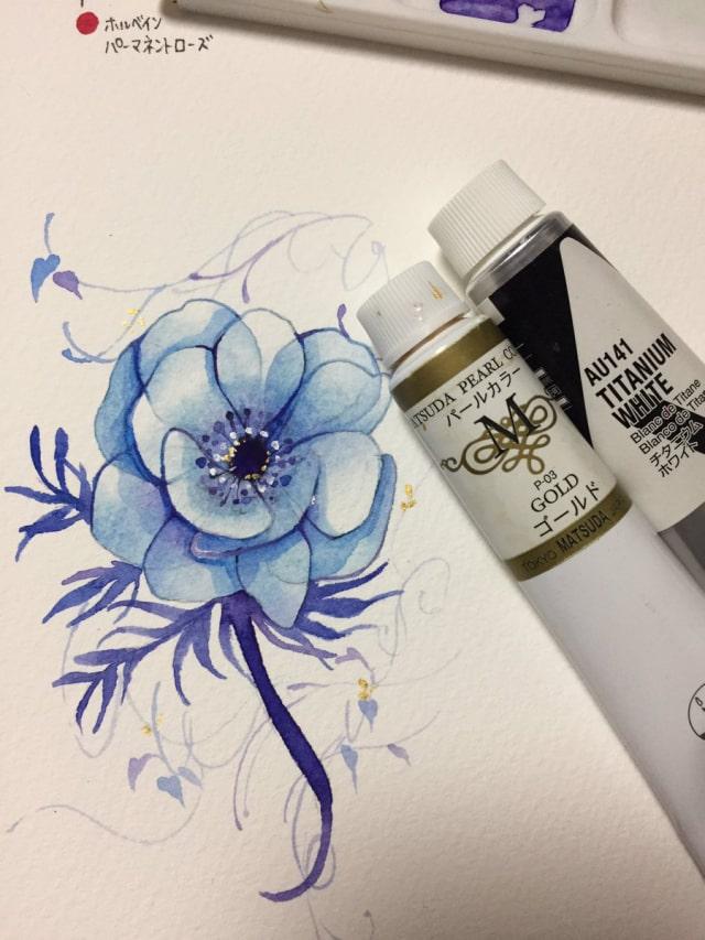花の水彩画イラストメイキング18