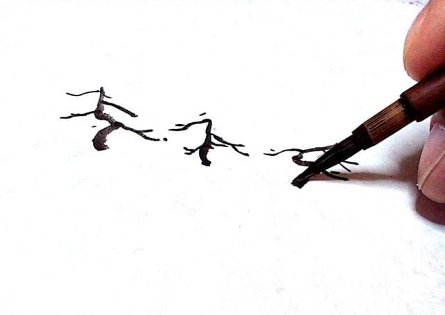 水墨画の描き方のコツをイラストでご紹介雀松目のリアルな絵の水墨