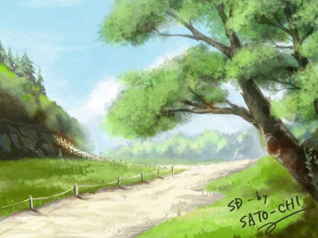 森のある背景の描き方22