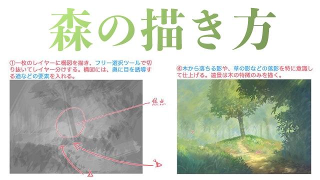 森や木の描き方〜風景イラストのテクニック!シルエットや明度を意識して視線を集める方法もご紹介。