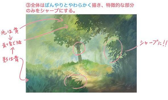 森の描き方のテクニック3