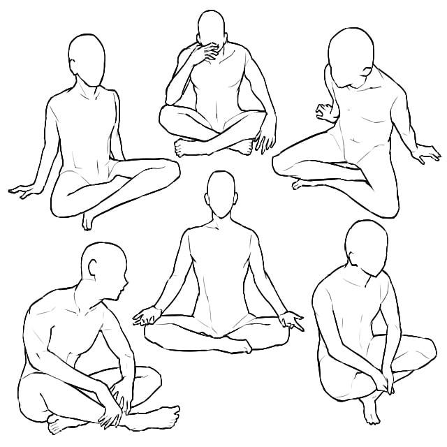 あぐらをかいて座るポーズイラストの描き方の種類