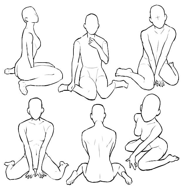 ペタン座りのポーズイラストの描き方の種類