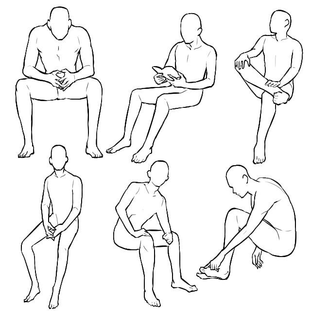 男性の椅子に座るポーズイラストの描き方の種類