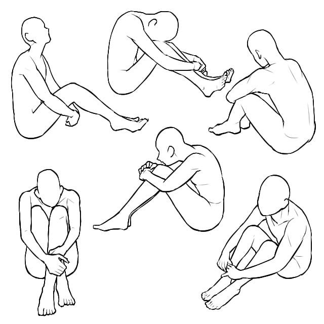体育座りのポーズイラストの描き方の種類
