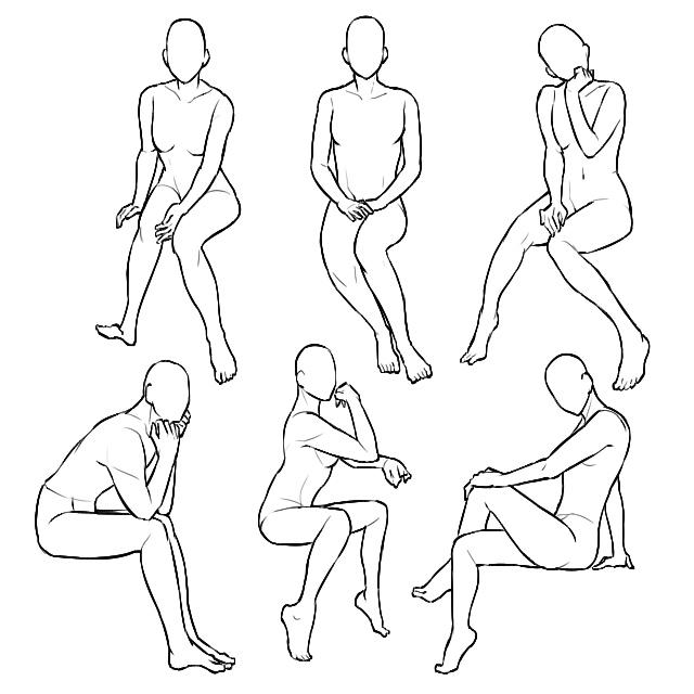 女性の椅子に座るポーズイラストの描き方の種類
