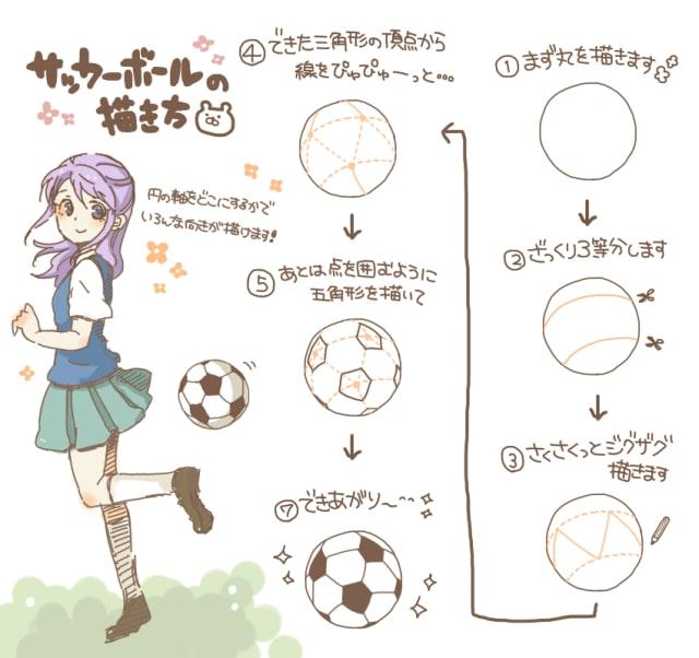 サッカーボールの描き方1