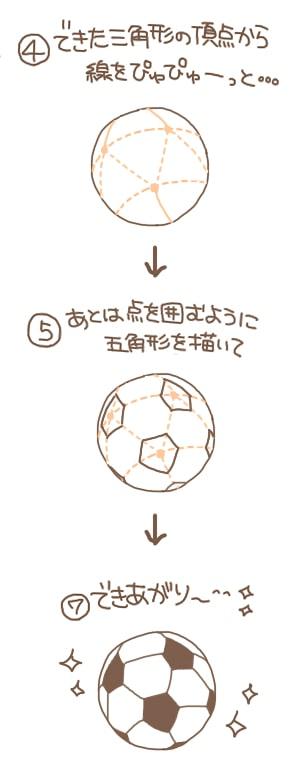 サッカーボールの描き方3
