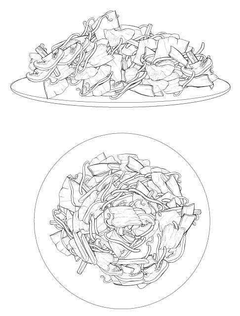 食べ物ブラシを使った野菜炒めの作例