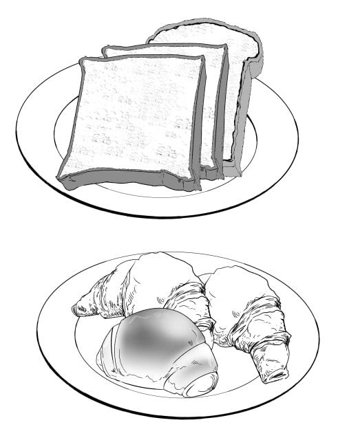 パンブラシを使った食パンやクロワッサンの作例