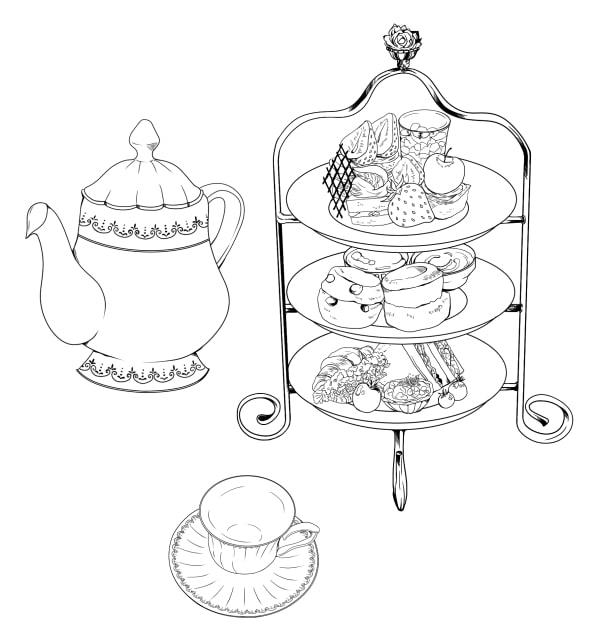 ケーキ・ティー素材を使ったティーセットの作例