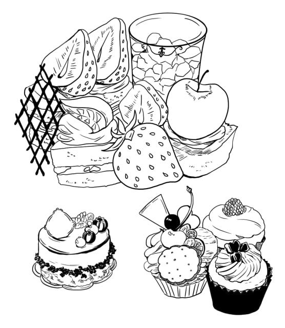 ケーキ・ティー素材を使ったパンケーキなどの作例