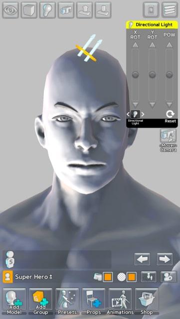 光源をモデルの左下に設定