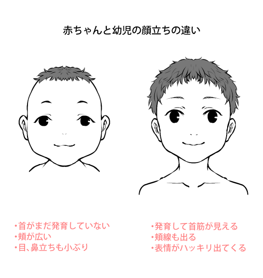 赤ちゃんと幼児の正面顔の違い