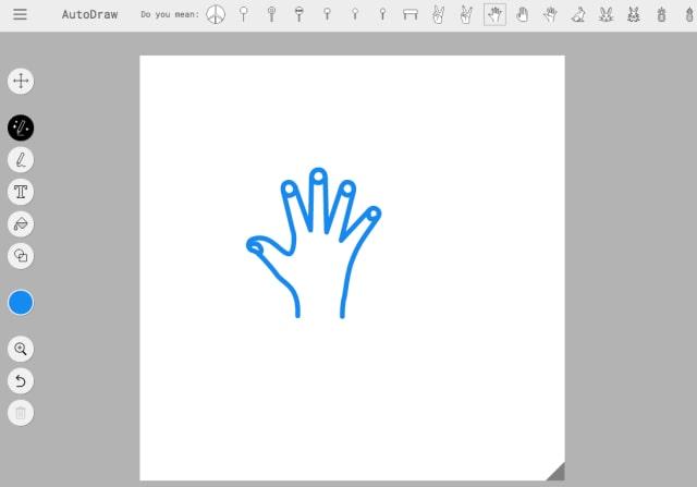 自動描画された手のイラスト