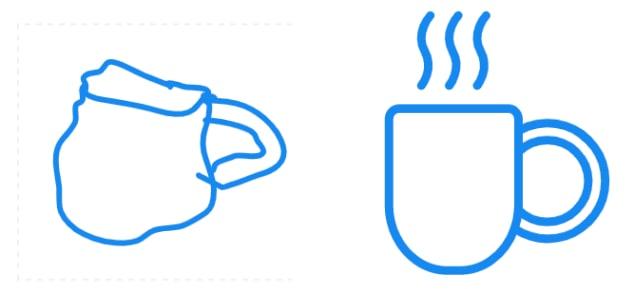 コーヒーカップのイラストの比較