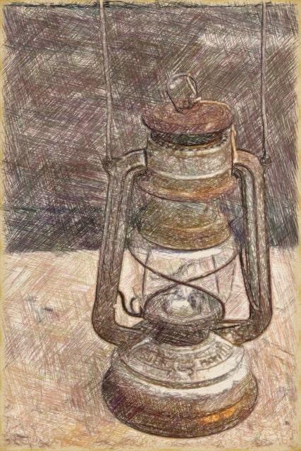 ランプの写真のColorPencil描写