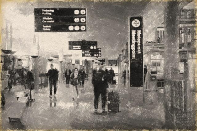 空港の写真のCharcoal描写