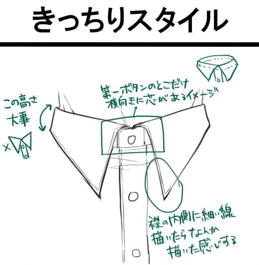 きっちりスタイルの襟(正面)