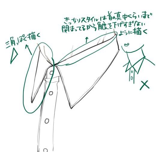 きっちりスタイルの襟(斜め)