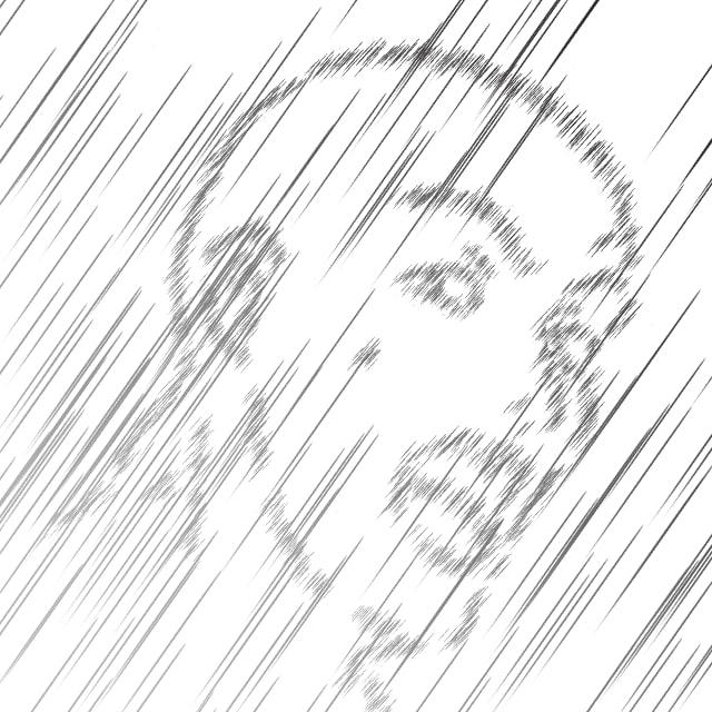 効果線ペンの作例(ブレ大)
