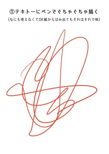 適当にペンでぐちゃ線を描く