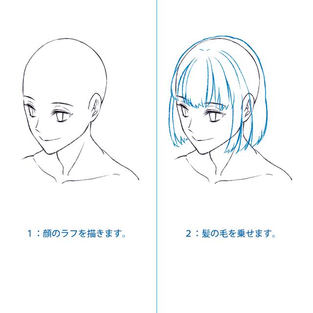 1:髪と髪型のラフ