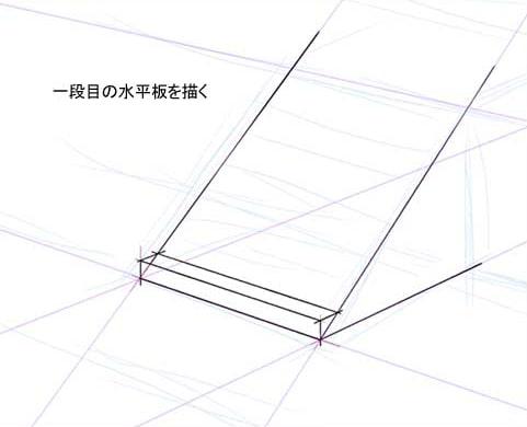 一段目の水平方向の板を描く