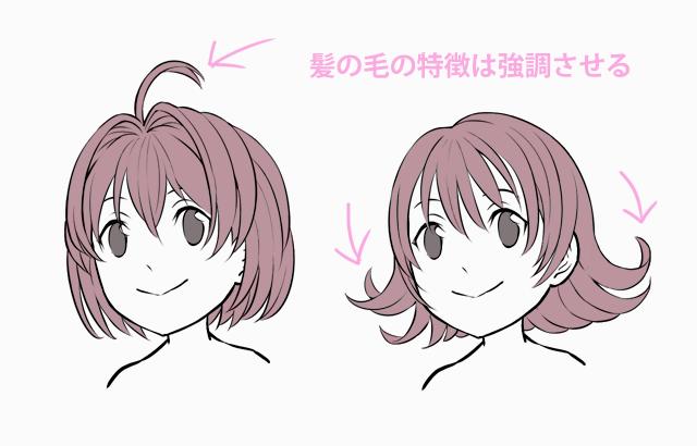 ミニキャラの髪型に特徴をつける