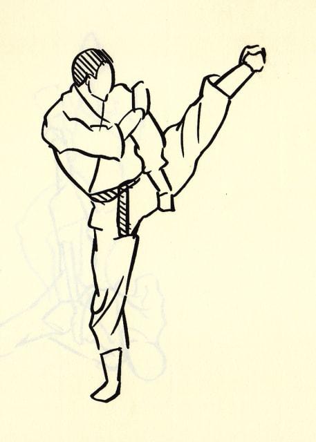 屋外で左足を高く蹴り上げる男性のドローイング