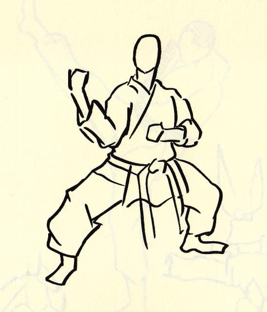 足を開いて拳法の構えの姿勢をとる男性のドローイング