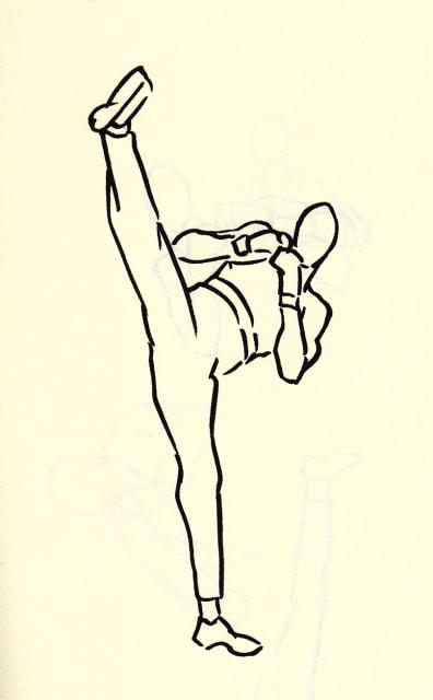 上半身を傾かせて右足を高く蹴り上げる女性のドローイング