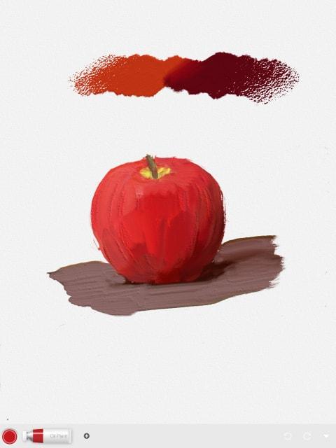 油彩絵の具の林檎