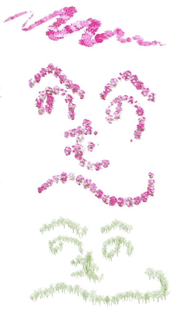 花・茎ブラシの使用例