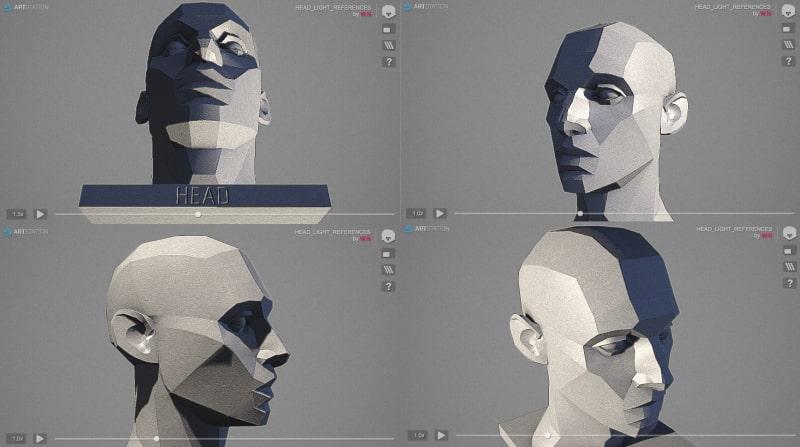 人物の顔の陰影を描く参考に「LIGHT REFERENCE TOOL」