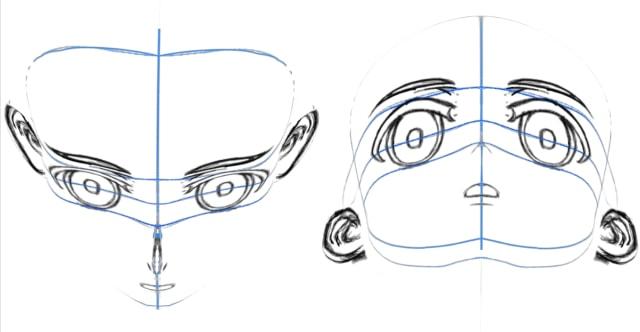 3Dスケッチヘッドの俯瞰とアオリのアングル