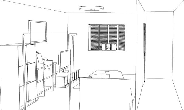 3D素材 洋室の線画抽出1