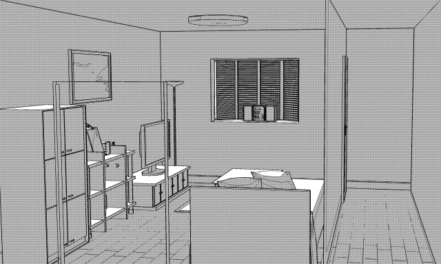 3D素材 洋室の線画抽出2