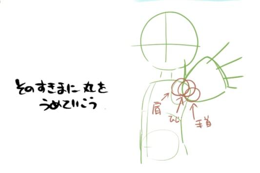 手を伸ばして前に出すポーズのイラストの描き方