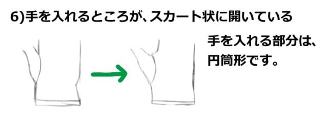 手を入れる箇所がスカート状