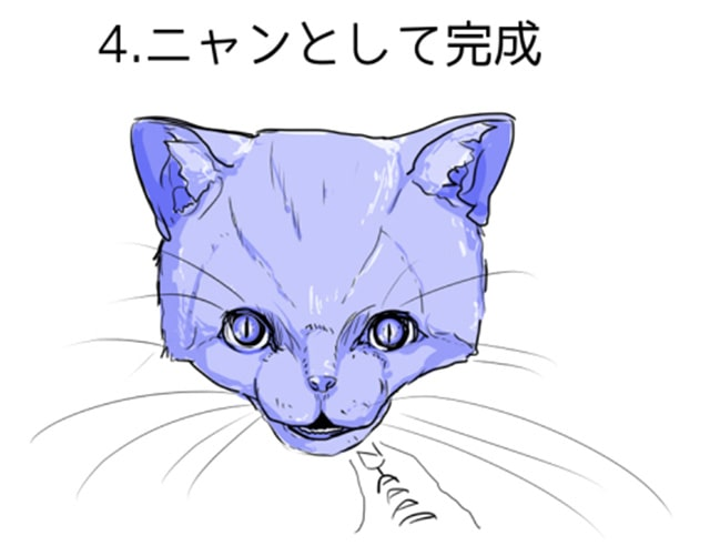 猫の顔完成