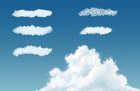 雲を描くブラシセット